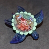 Sea Turtle Paperweight with Sea Floral shell and UV elements