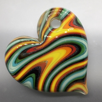 Fire & Water Sparkle Striped Chunky Heart Pendant
