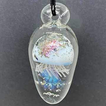 Translucent white Jellyfish with shimmer cap pendant