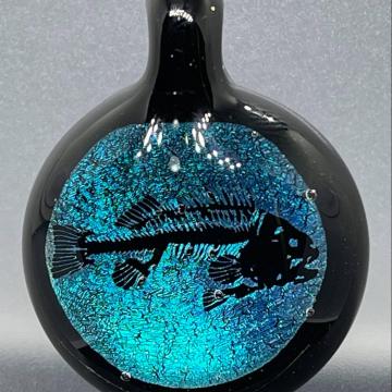 Dichroic fish fossil image pendant