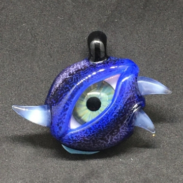 Blue lidded Eye Pendant with horns