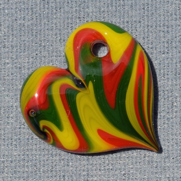 Rasta Striped Chunky Heart Pendant