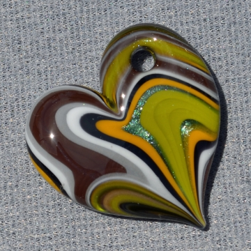 Brown and Green Striped Chunky Heart Pendant