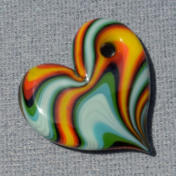 Fire and Water Striped Chunky Heart Pendant