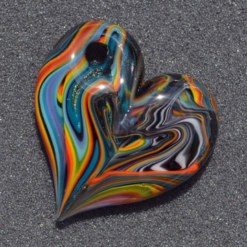 Mashup Striped Chunky Heart Pendant