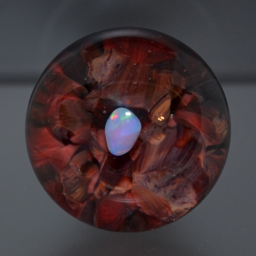Red Frit Bottle Stopper With Opal