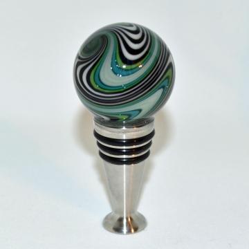 Green, Black and White Striped MarbleBottle stopper