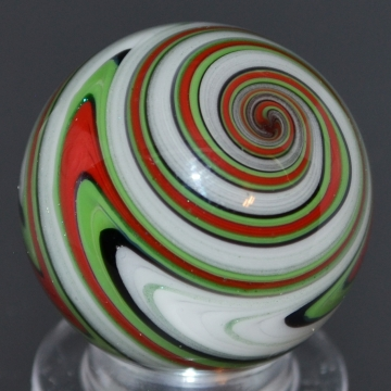 Red, Green, Black and White Striped Marble
