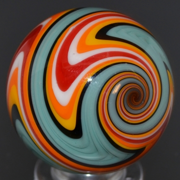 Teal, Black, Red & Orange Striped Marble