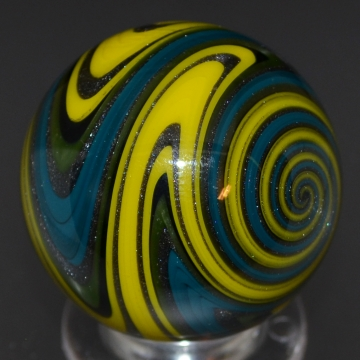Blue, Yellow & Green sparkle Striped Marble