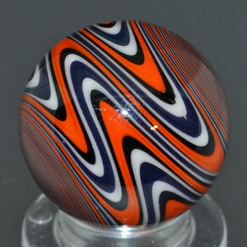 Orange, Black, Blue, & White Striped Marble
