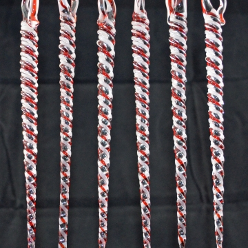 Red and White Icicle Christmas Ornament set of 6