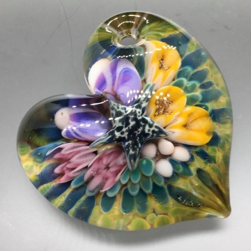 Sea Floral Heart Pendant 3